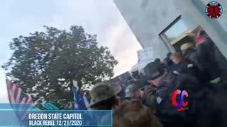 Patriots And Police Clash As They Try To Gain Entry To Oregon State Capitol Building