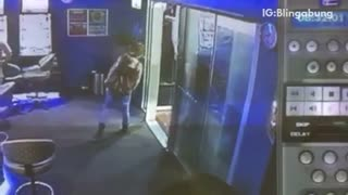 Girls not walking straight hits herself on door - Video
