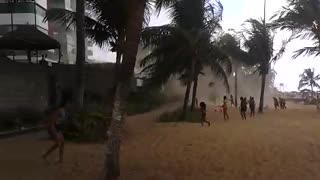 Waterspout Hits Brazilian Beach - Video