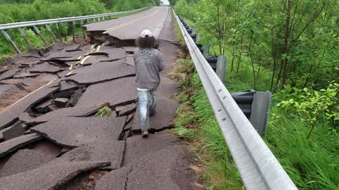 Road Destroyed After Fooding