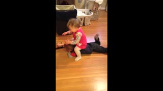 Little Girl Won't Stop Tackling Her Brother!