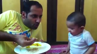 Adorable baby and papa arguing  - Video