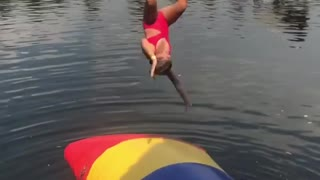 Collab copyright protection - girl red blob water faceplant - Video