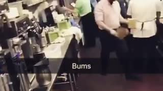 Man walks into kitchen calls people bums