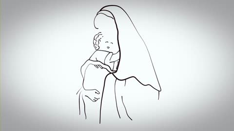 Draw a mother hugging her son