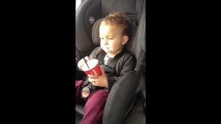 Baby loses his mind over whipped cream