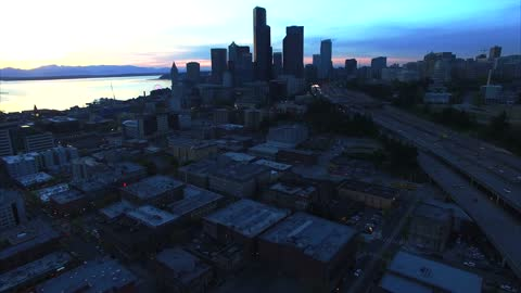 Drone captures peaceful serenity of Seattle evening