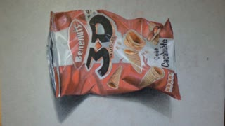 Artists draws incredibly realistic 3D potato chip bag