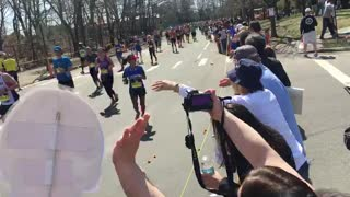 Gronk Nation Runner Kim Chandler Finishing The Boston Marathon - Video