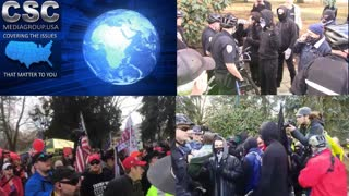 #ANTIFA Protesters Unsuccessfully Try To Get Around The Police At #March4Trump Event