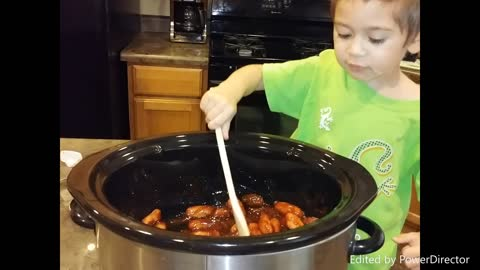3-year-old helps mom with cooking