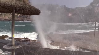 Geyser erupts on Spanish coast - Video