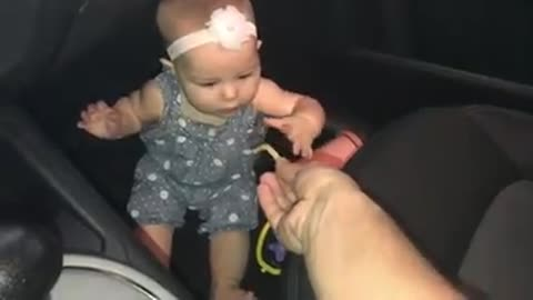 Baby's tantrum quickly subsides thanks to french fry