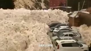 avalanche, crushed all cars