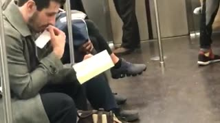 Ecstatic Woman Cannot Control Her Happy Feet Dancing In The Subway - Video