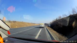 Tow Trailer Swerves and Tips in Ditch