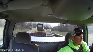 Tractor Tow Fishtailing Close Call - Video