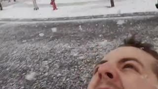 Giant Snowflakes Falling From Sky