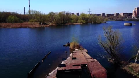Drone discovers abandoned waterlogged ship almost in the center of Moscow