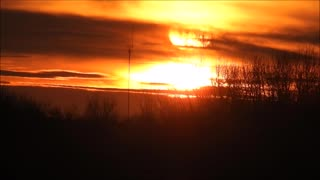Fiery Looking Sunset in High Speed  - Video