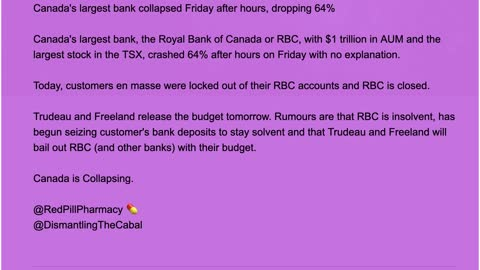 Canada's largest bank collapsed Friday after hours, dropping 64%