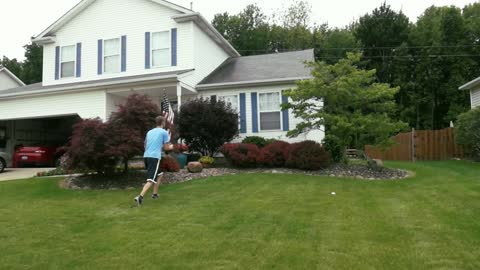 Unbelievable football trick shot over a house!