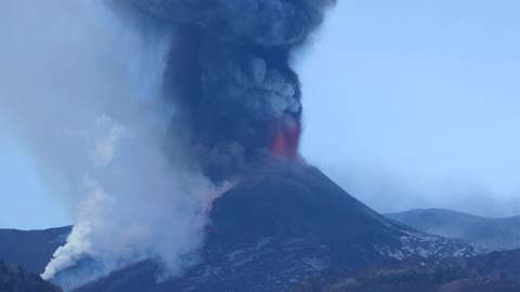 Etna volcano Sicily, Italy, Eruption of 19 February 2021