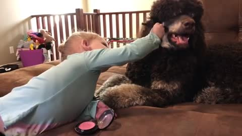 Toddler applies makeup to doggy best friend