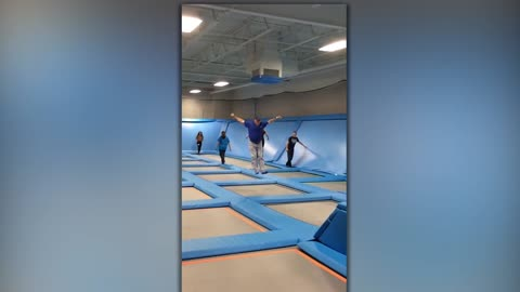 A Man Runs And Jumps On Trampolines