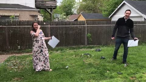 Epic balloon-popping twin gender reveal