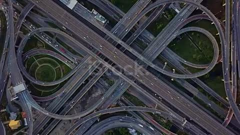 Drone footage of top view of Highway road junctions