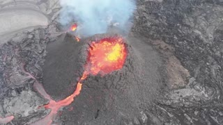 Eruption of Fagradalsfjall volcano in Iceland footage by drone