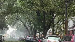 Tropical Storm Causes Power Lines to Combust