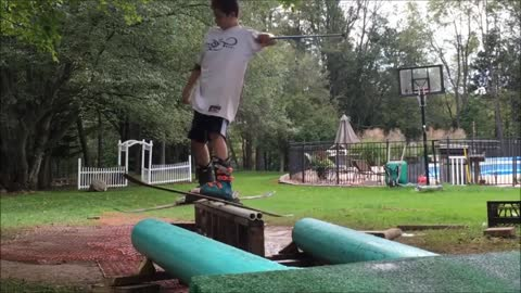 Talented Kid Creates Epic Summer Backyard Ski Course