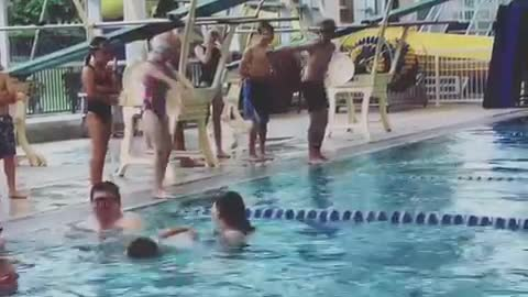 Little girl failed at diving