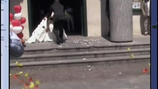 Bride And Groom Face Plant While Leaving The Church - Video
