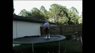 Kids In Boxing Gloves Flies Off Trampoline - Video