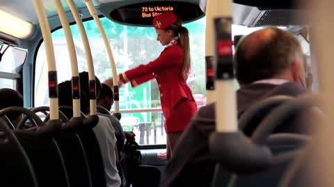 Bus commuters pranked by fake airline safety announcements