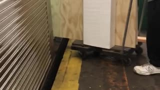 Guy trying to load big large piece of wood on cart onto subway train