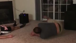 Grey blue victory shirt living room backflip fail - Video