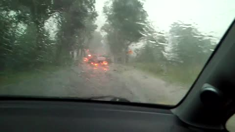 Heavy rain and wind causes trees to fall on the road