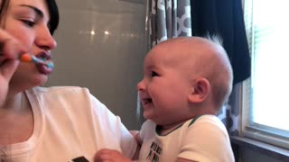 Mom's Hiccups Causes Fit of Baby Giggling