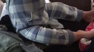 Baby caught wearing underwear as a necklace  - Video