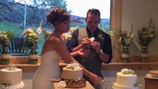 Groom Can't Wait For Wedding Cake - Video