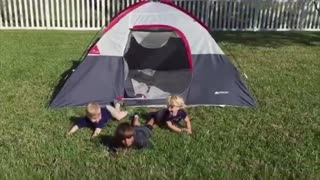 Five boys trip on tent - Video
