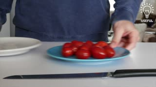 How to perfectly cut tomatoes in 5 seconds (with no mess!) - Video