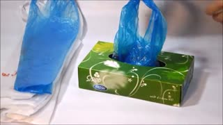 Plastic bag storage trick with a tissue box - Video