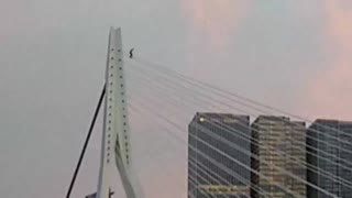 Daredevil escapes death after insane bridge stunt goes wrong - Video