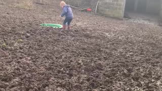 Little one stuck in the mud!