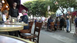 People Move Fast Video In Outside Restaurant